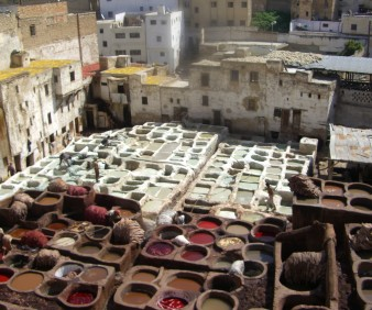 shopping for leather in the Medina of Fez