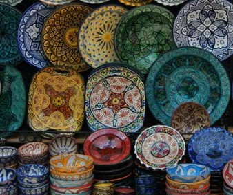 shopping for pottery in Fez